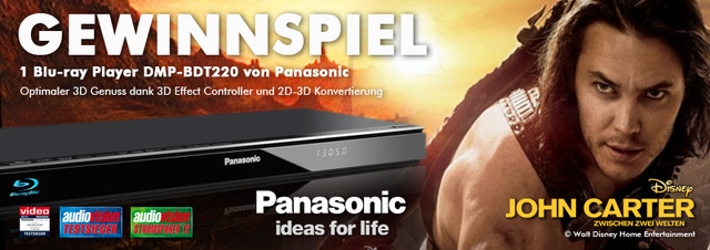 Panasonic Blu-ray Player Gewinnspiel: Mit Panasonic Blu-ray Player & John Carter in die 3. Dimension!