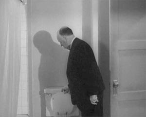 Prüfender Blick: Alfred Hitchcock in einem Trailer zu 'Psycho' (1960)