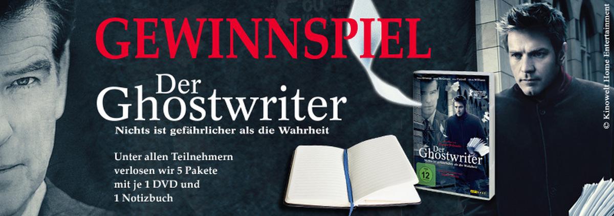 Ghostwriter Gewinnspiel: Fanpakete zum neuen Thriller von Roman Polanski