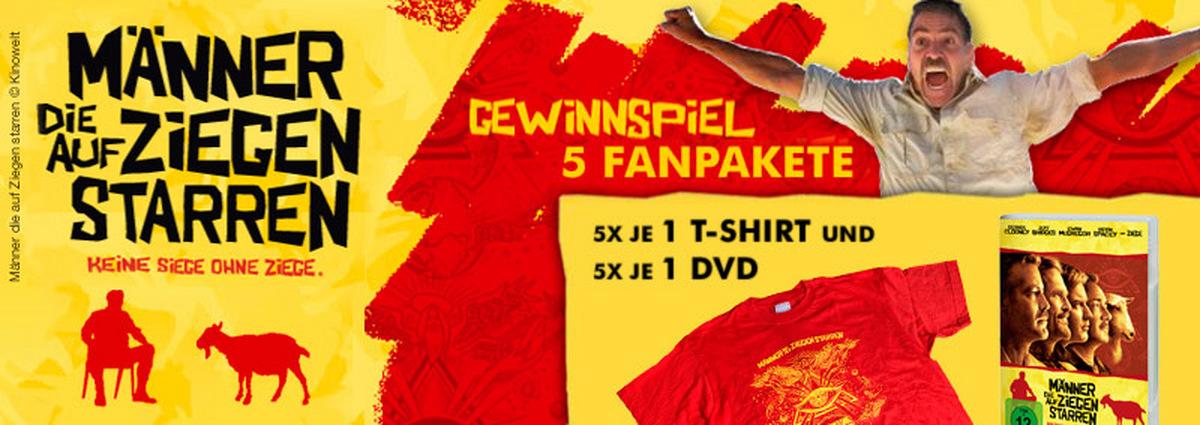 Gewinnspiel: 5 Film-Fanpakete: DVDs & T-Shirts zu Männern, die auf Ziegen starren!