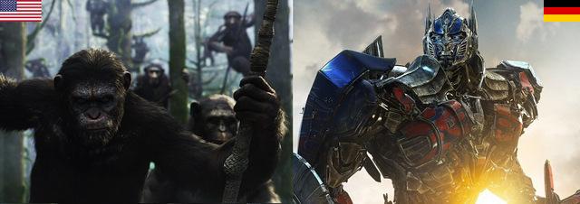 Kino-Top-10 USA+Deutschland: Affen und Transformers erobern die Kinosäle