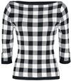 Banned Retro Check Knitted Jumper Strickpullover schwarz weiß powered by EMP (Strickpullover)