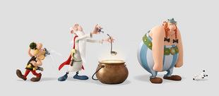 Asterix, Miraculix mit seinem Zaubertrank, Obelix und Idefix gemeinsam in ihrem neuen Abenteuer © Universum Film