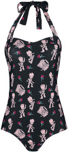 Guardians Of The Galaxy Groot Pink Rose Badeanzug schwarz rosa powered by EMP (Badeanzug)