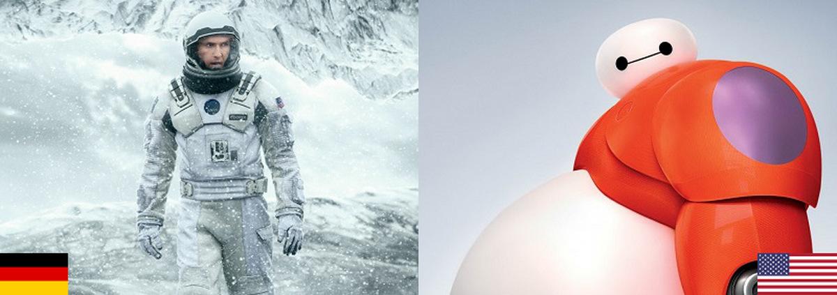 Kino-Top-10 Deutschland+USA: Interstellares und Robotastisches an der Spitze