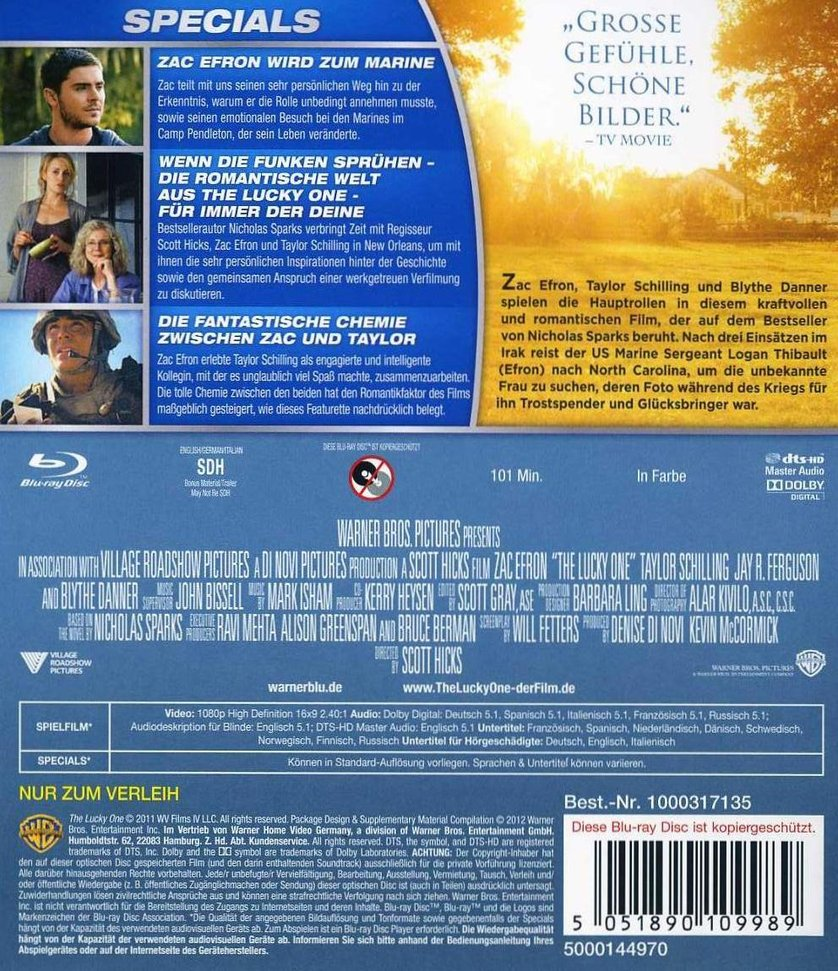 The Lucky One Dvd Blu Ray Oder Vod Leihen Videobusterde