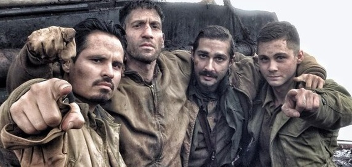 Michael Peña, Jon Bernthal, Shia LaBeouf und Logan Lerman 'Herz aus Stahl' (GB 2014) Pressematerial © Sony Pictures