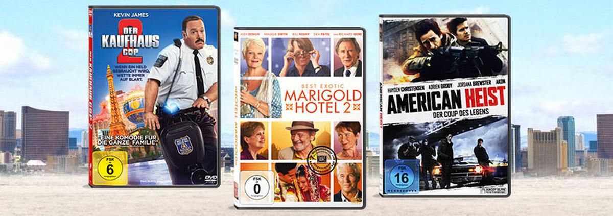 Top 3 Neuerscheinungen 34. KW: Kaufhaus Cop 2, Marigold Hotel 2 & American Heist