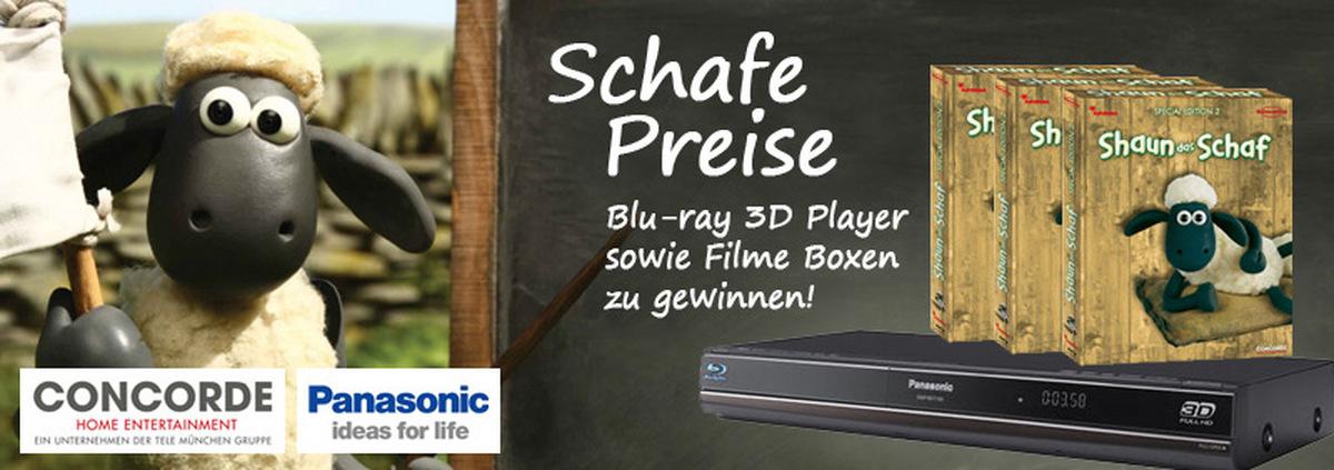 Shaun das Schaf Gewinnspiel: Scha(r)fe Blu-ray Boxen & Full HD 3D Player abgrasen!