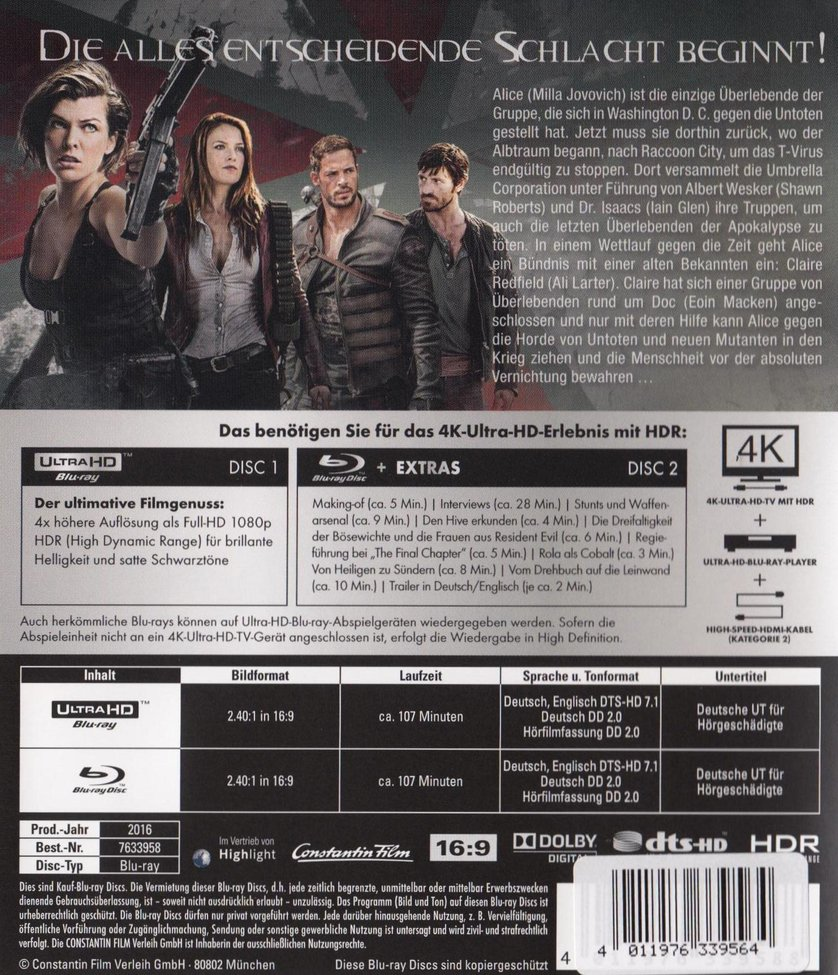 Resident evil 6 the final chapter dvd blu ray oder vod leihen - Resident evil final chapter 4k ...