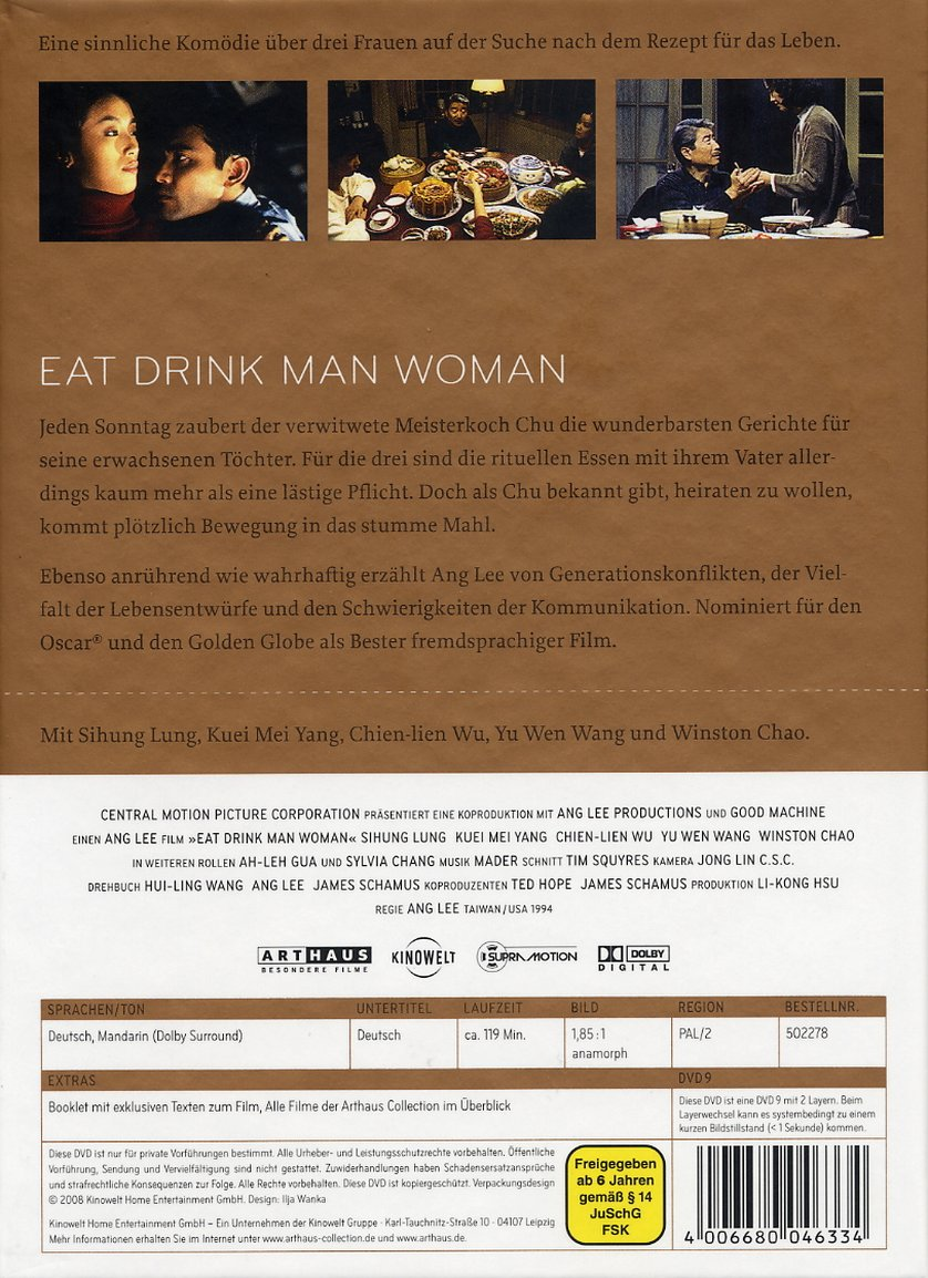 "eat drink man woman In taipei, where the sumptuous comedy ""eat drink man woman"" is set, chu (sihung lung) is a kind of superhero at home in his kitchen he works completely from memory, mixing the ingredients for ."