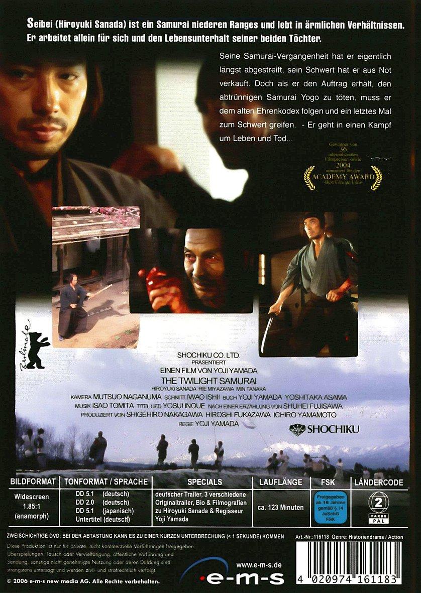 twilight samurai A woman (rie miyazawa) helps a samurai (hiroyuki sanada) out to kill a swordsman.