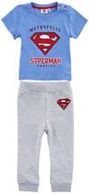 Superman Logo und Schriftzug Schlafanzug grau meliert blau powered by EMP (Schlafanzug)