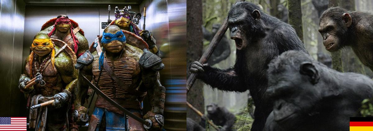 Kino-Top-10 USA+Deutschland: Tierisch erfolgreich: Turtles & Affen auf dem Kinothron!
