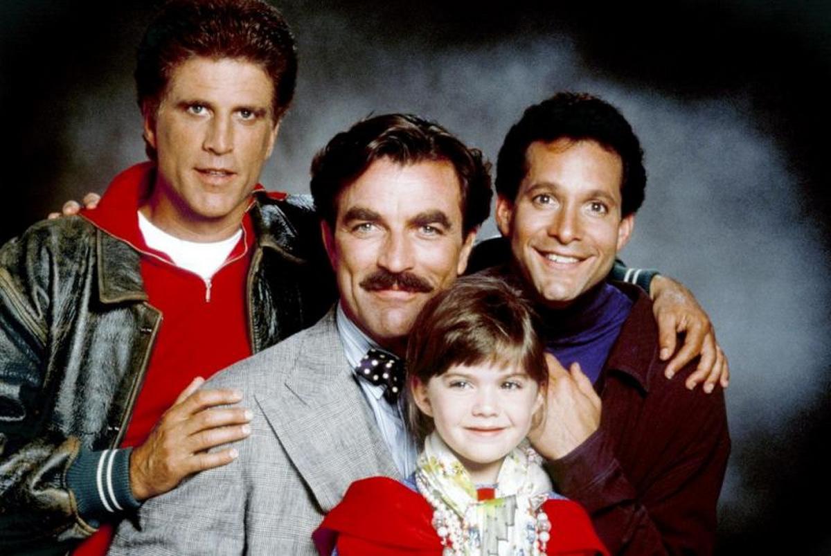Ted Danson, Tom Selleck, Steve Guttenberg und Robin Weisman in 'Drei Männer und eine kleine Lady' © Touchstone 1990