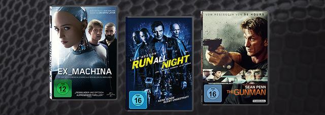 Top 3 Neuerscheinungen 36. KW: Ex Machina, Run All Night & The Gunman