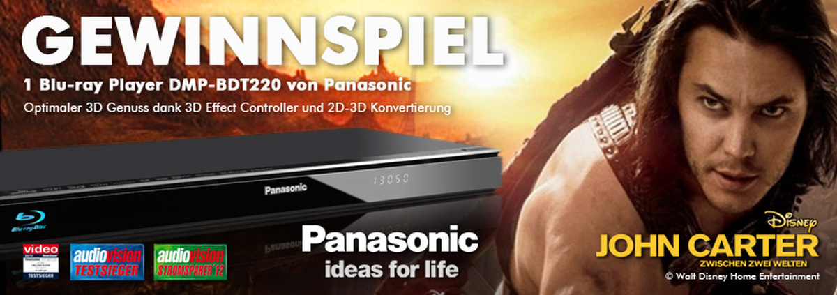 Panasonic Blu-ray Player Gewinnspiel: Mit Panasonic Blu-ray Player & John Carter in die 3. Dimension!