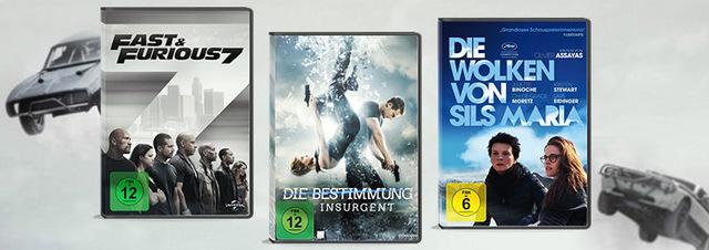 Top 3 Neuerscheinungen 33. KW: 3x Neu: Furious 7, Insurgent & Sils Maria